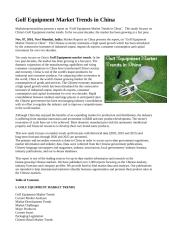 Golf Equipment Market Trends in China.doc
