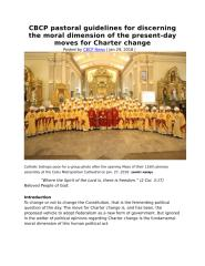 CBCP pastoral guidelines for discerning the moral dimension of the present.doc